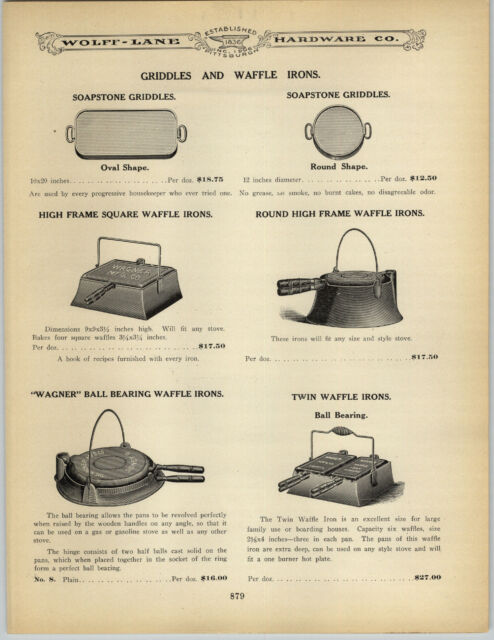 1906 PAPER AD Wagner Waffle Iron Twin Double Ball Bearing High Low Square