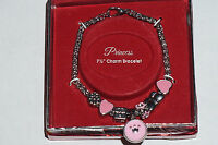 Princess Silver Tone 7.5 Charm Bracelet Pink In Box Flower,heart Bead