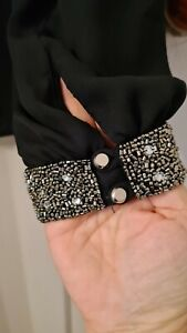 Black Blouse with embellished cuffs / split sleeves by Dorothy Perkins - Size 12
