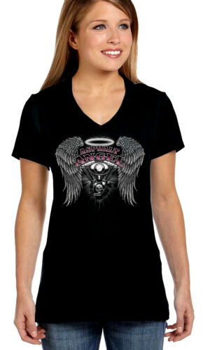 Womens Asphalt Angel Motorcycle Wings Halo Lady Biker V-Neck Tee Shirt
