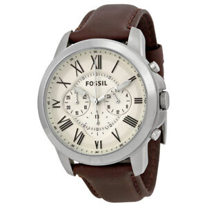 Fossil-Grant-Chronograph-Egg-Shell-Dial-Brown-Leather-Mens-Watch-FS4735