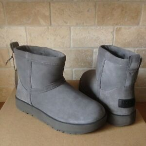 c4b66cb32ac Details about UGG Classic Mini Metal Grey Waterproof Suede Sheepskin Boots  Size US 7.5 Womens