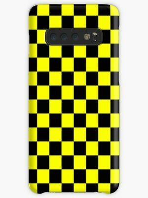 size 40 adee0 b1fb3 Black and Yellow Checkered iPhone 5 6/6s 7/8Plus X/XS, Samsung S10 Plus  Case | eBay