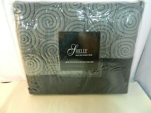 SHELLY-Quilted-Panel-Curtains-2-Panels-80x-84-034-Gray-amp-Black-Polyester-New