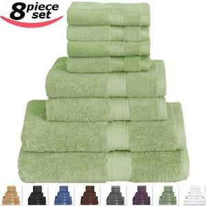 bath towel set utopia towels 8 piece value 100 cotton 8 pack total sage green ebay. Black Bedroom Furniture Sets. Home Design Ideas