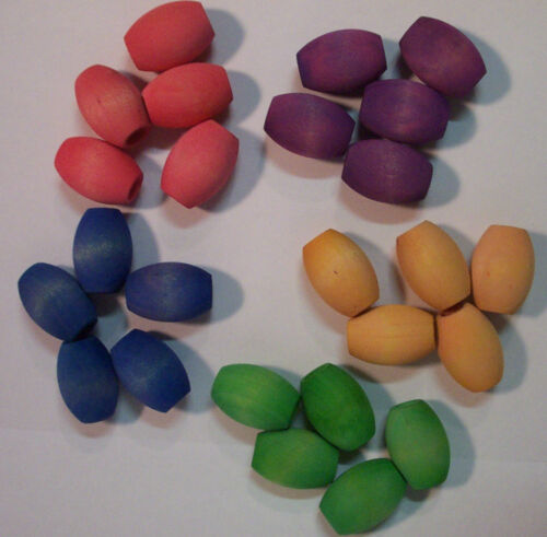 """25 Bird Toy Parts Wood 1-1//4/"""" Large Colored Wooden Oval Beads Parrot Craft Parts"""