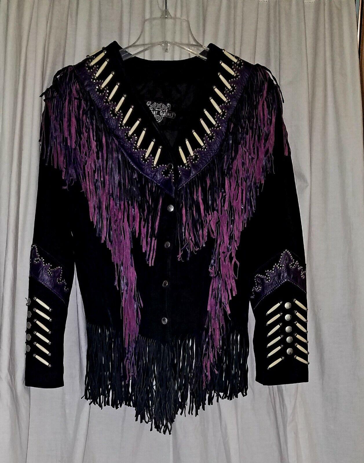 Vintage Black Purple Suede Leather Fringe Jacket - Leather Gallery Size XXL