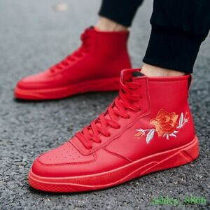 Mens-High-Top-Board-Shoes-Floral-Lace-Up-Fashion-Casual-Boot-Sneaker-Leather-New