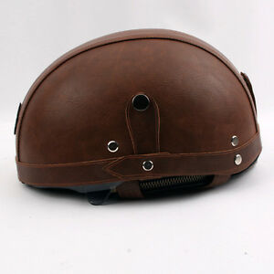 PU Leather Brand KCO Vintage Motorcycle Half Helmet With ...