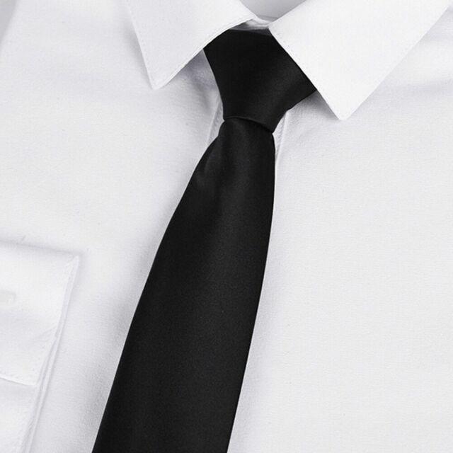 Men Black Clip On Tie Security Tie Doorman Steward Matte Funeral Tie H7S4