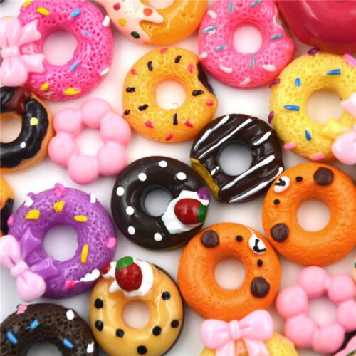 10Pcs DIY Phone Case Decor Crafts Miniature Resin Doughnut Dollhouse Food YF