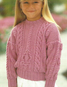 1f2b9540bd3d54 Image is loading Girls-Aran-Sweater-with-Cable-Knitting-Pattern-beautiful-