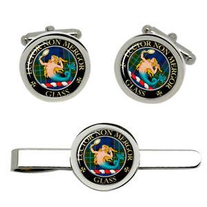 Glass-Scottish-Clan-Cufflinks-and-Tie-Clip-Set