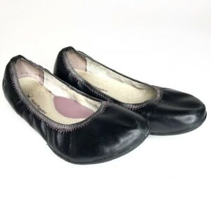 Hush-Puppies-Chaste-Size-8-5-Women-039-s-Black-Pink-Leather-Slip-On-Ballet-Flats