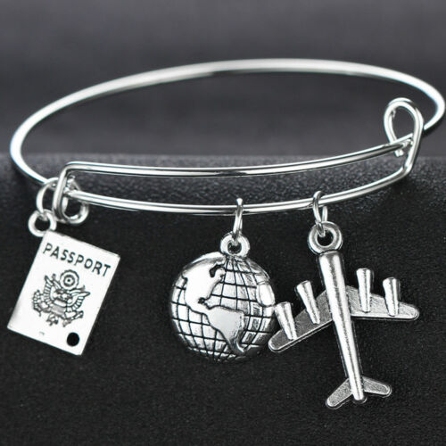 Friendship Best Friend Gift Mother Daughter Compass Airplane Charm Necklace New