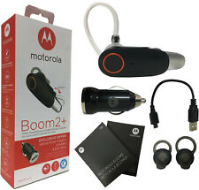 Motorola Boom 2+ Water Resistant Wireless Flip Headset PLUS Car Vehicle Charger
