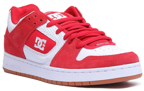 DC Shoes Manteca Women Suede Leather Red White Skate Shoes Size UK 3-8