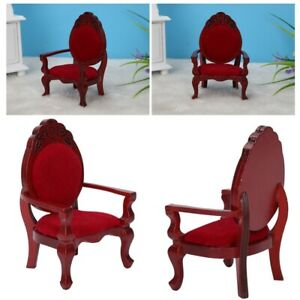 Mini-Vintage-Furniture-Wooden-Carved-Dining-Chair-for-1-12-Scale-Dollhouse-Doll