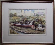 Dennis Grundy originale firmato dipinto ad Acquerello Lytham Creek Lancashire