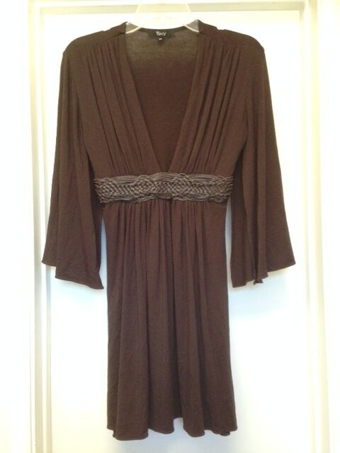 SKY BRAND Brown Split 3 4 Sleeve Dress with Leather Belt Sz M Medium EUC