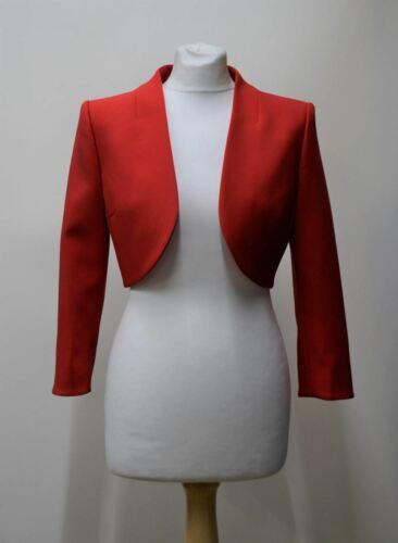 Hobbs Femmes Kaley rouge manches 3//4 Open Front cropped bolero veste UK8 Neuf