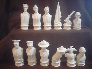 E714 - Ceramic Bisque Doc Holliday Army vs Marine chess set - Ready to Paint