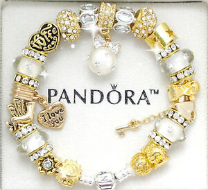 Details About Pandora Bracelet Silver Wife Gold Angel European Charms Box