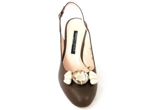 Slingback 38 Heels Ladies Eur Designer Leather Uk Shoes Brown Alberto Gozzi 5 Xa6qPwAxY