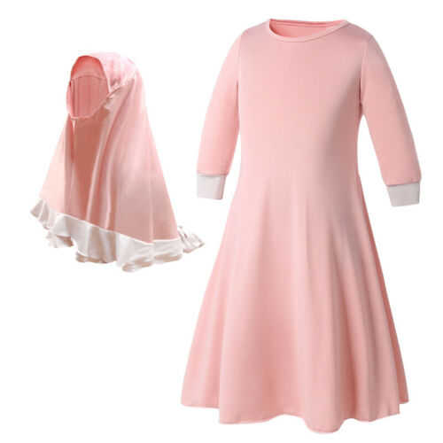 2PCS Muslim Kids Girls Long Sleeve Dress Prayer Hijab Set Clothes Abaya Islamic