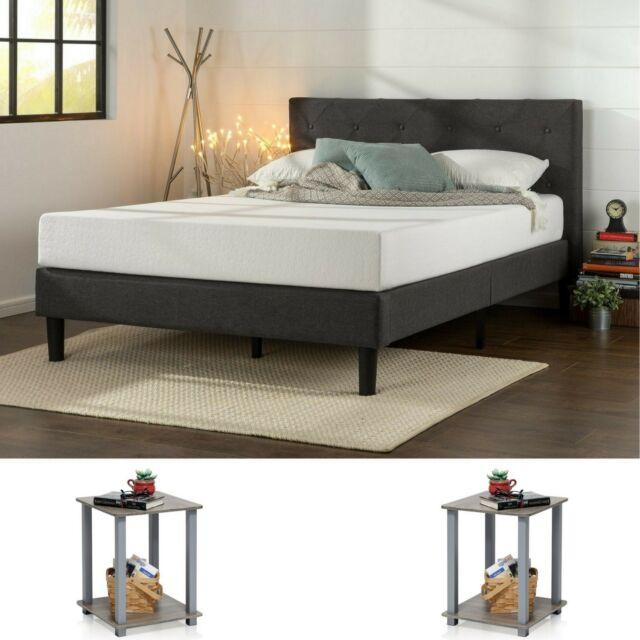 Bedroom Set Queen Size Modern Design Furniture 2 Nightstand Tables Grey 3 Pieces For Sale Online Ebay