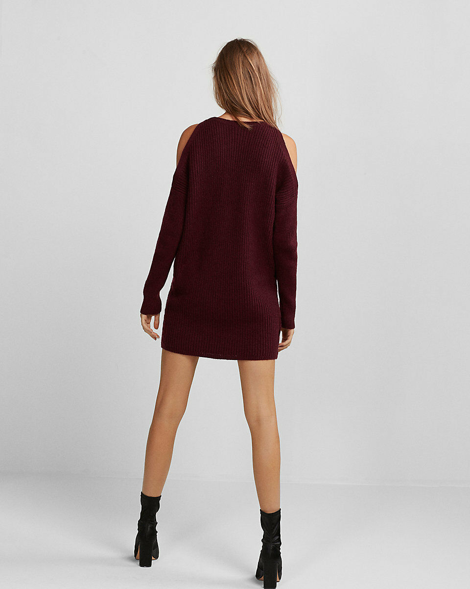 0913cc851fc ... NEW EXPRESS MAROON COLD SHOULDER CABLE KNIT KNIT KNIT SWEATER DRESS SZ  L LARGE d06ebf