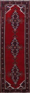 Vintage Geometric Traditional Hand-knotted Runner Rug Wool Oriental 4x10 Carpet
