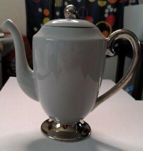 Flintridge China Miramar Grey with silver Coffee Pot made in California