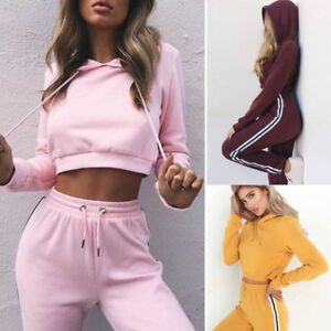 2Pcs-Women-Ladies-Tracksuit-Hoodies-Sweatshirt-Pants-Sets-Sport-Wear-Casual-Suit