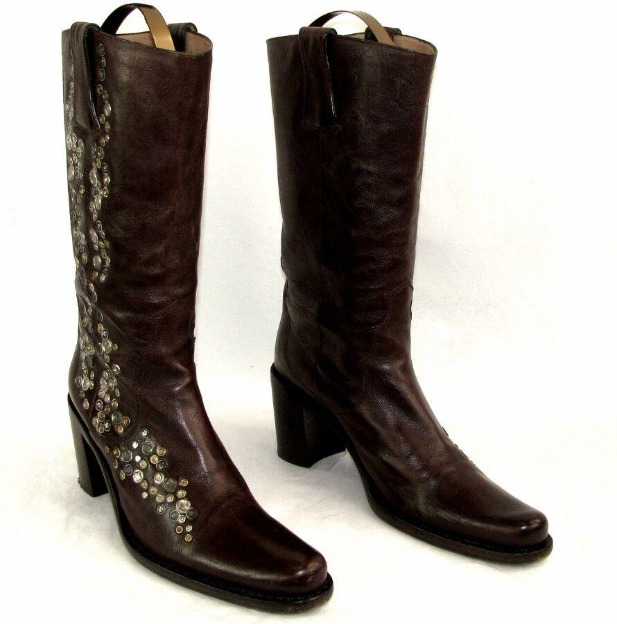 FREE LANCE botas santiags SATURNO cuir marrón 38 38 38 EXCELLENT ETAT  100% autentico