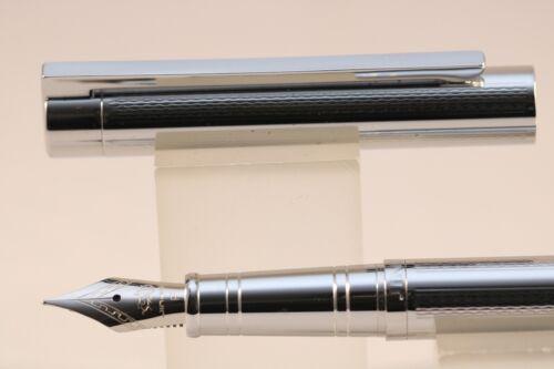126 Herringbone Polished Chrome Fine Fountain Pen with Chrome Trim Jinhao No