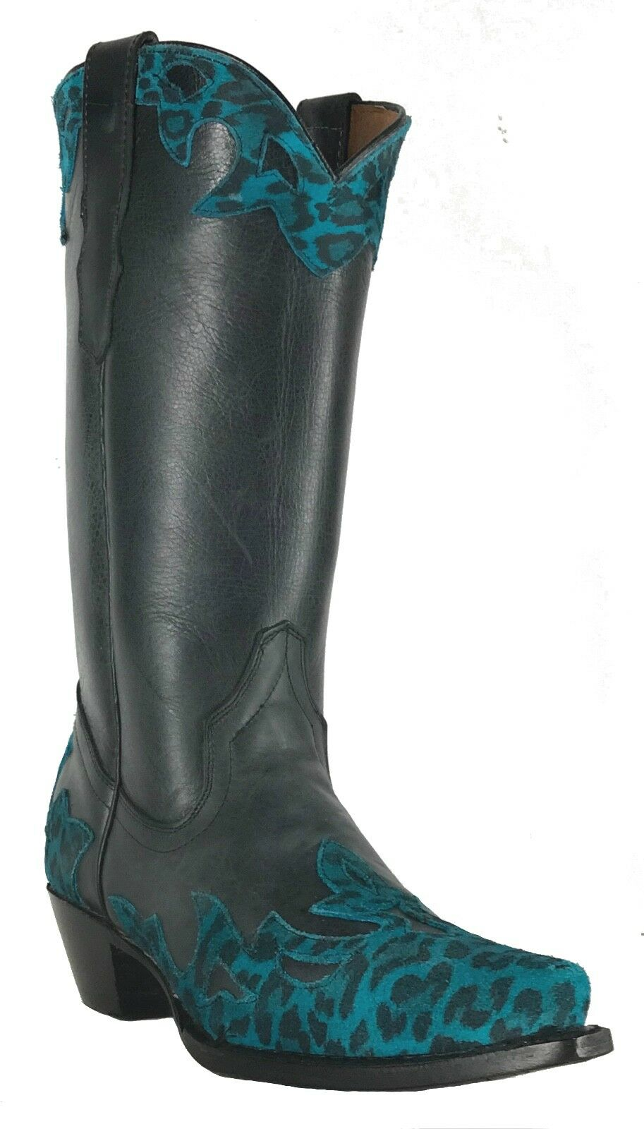Women's New Cheetah Design Leather Cowgirl Western Boots Boots Boots Black Turquoise Sale 53023a