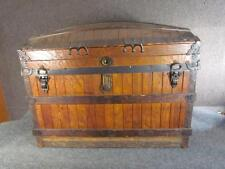 *EXCEPTIONAL* ANTIQUE 1880s OAK SLAT AMERICAN STEAMER DOME TOP TRUNK