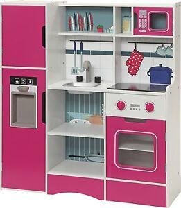 Ab 3 Jahre XXL Kinder Holz Küche Spielküche weiß pink ...