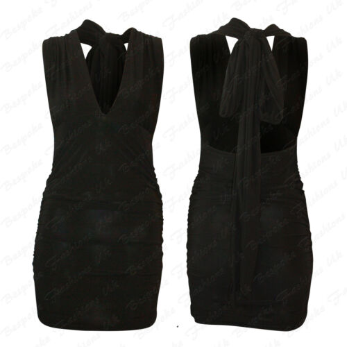 Ladies Women/'s Halterneck Sleeveless V NECK Ruched Tie Up Backless Mini Dress