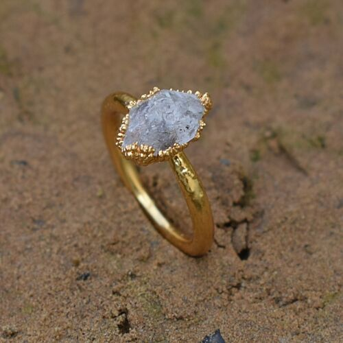 Natural Herkimer Diamond Gemstone Gold Plated Stackable Fashion Design Ring