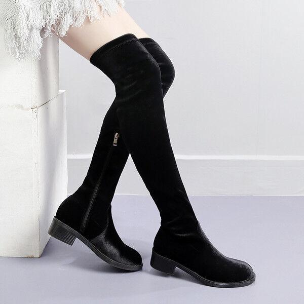 Stiefel schenkel up knie frau cm schwarz absatz 4 cm frau elegant simil leder 9645 93b8dc