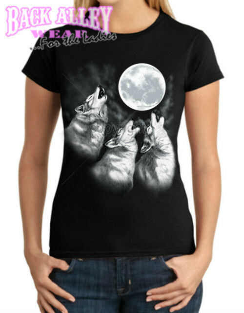 WOLF PACK HOWLING Ladies JUNIORS T-Shirt S-3XL ~ 3 Wolves Howling at the Moon