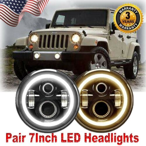 "97-2017 Jeep Wrangler CREE 7/"" DRL Blinker Halo LED Angel Eye Projector Headlight"