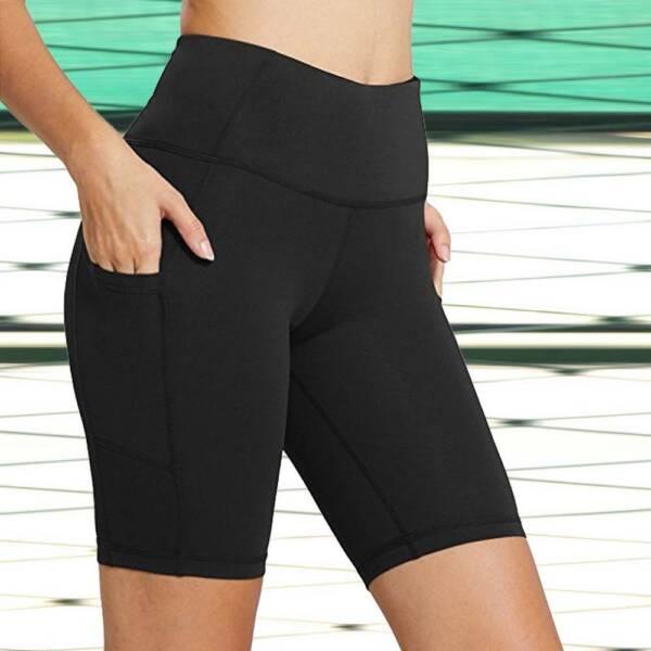 Damen Radler Shorts Kurze Hose Taschen Sommer Capri Stoffhose Hüfthose Bermuda