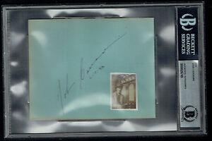 John Carradine (d 1988) signed autograph 4.5x5.5 cut Grapes of Wrath BAS Slabbed