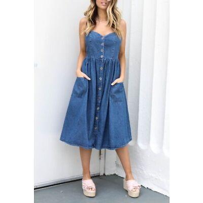 UK Womens Vintage Button Denim Dress Loose Casual Jeans Strappy Midi Dress