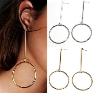 Image Is Loading Round Long Earrings Hoop Line Chain