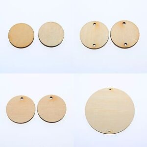 "1""-5""(W)1/8""inch WOODEN CIRCLES WITH HOLE UNFINISHED CRAFT FAMILY BIRTHDAY TAG"