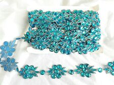 1mtr Perline Blu Oro Gemma Fiore Pizzo Cucito COSTUME TESSUTO ARTIGIANALE